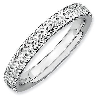 Sterling Silver Stackable Expressions Rhodium Ring - Ring Size: 5 to 10