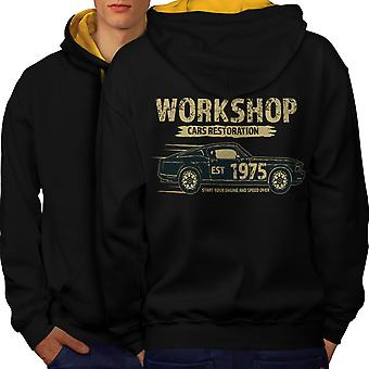 American Muscle Car Men Black (Gold Hood)Contrast Hoodie Back | Wellcoda