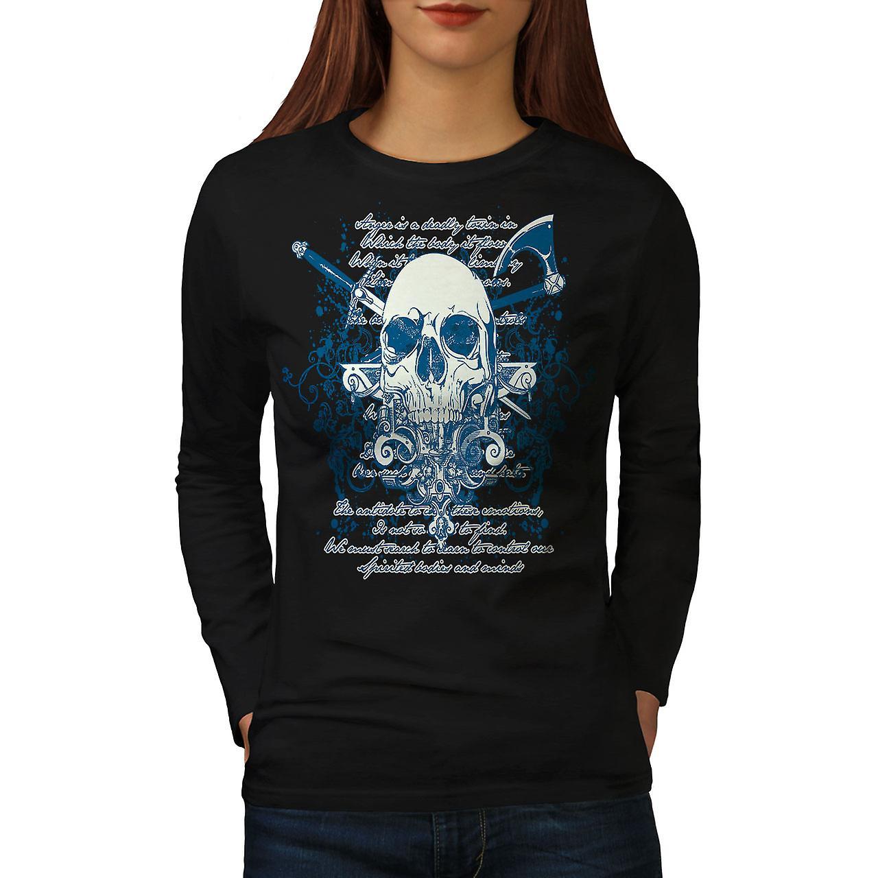 Axe Death Cool Goth Women BlackLong Sleeve T-shirt | Wellcoda