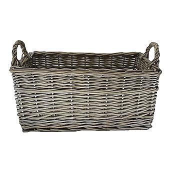 Small Shallow Antique Wash Storage Wicker Basket