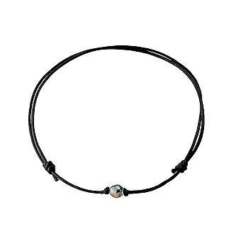Cotton wax black Tahitian Pearl Necklace
