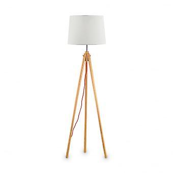 Ideal Lux York trípode pie Lámpara de altura, de madera Natural