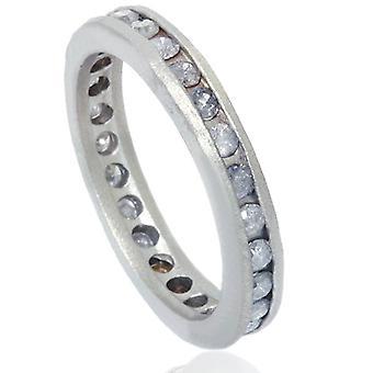 1 1/2ct Gray Diamond Channel Set Eternity Ring 14K White Gold