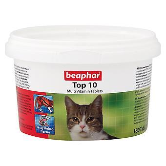 BEAPHAR TOP 10 CAT MULTI VITAMIN TABLETS 180 TABLETS / 117g VITAMINS & MINERALS