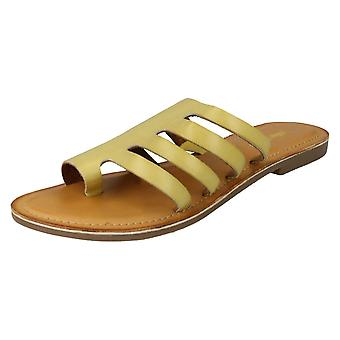 Ladies Leather Collection Flat Strappy Sandals F00125 - Yellow Leather - UK Size 5 - EU Size 38 - US Size 7