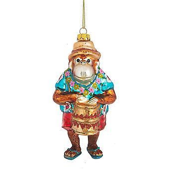 Funny Monkey Playing Bongo Drum Christmas Holiday Ornament