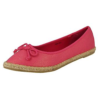 Spot On Flat Espadrille Ballerina with Bow Vamp F2233