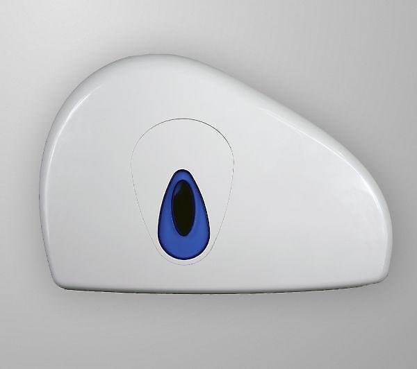 Dual Capacity Mini Jumbo Toilet Roll Dispenser; White Plastic