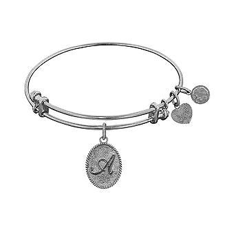 White Brass Initial Letter Angelica Bangle Bracelet, 7.25