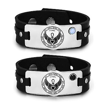 12 Guardian Archangel Amulets Love Couples Blue Simulated Cats Eye Simulated Onyx Leather Bracelets
