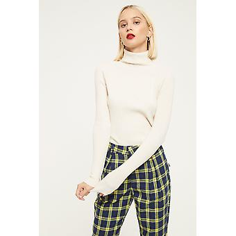 Cubic Ribbed Roll Neck Top