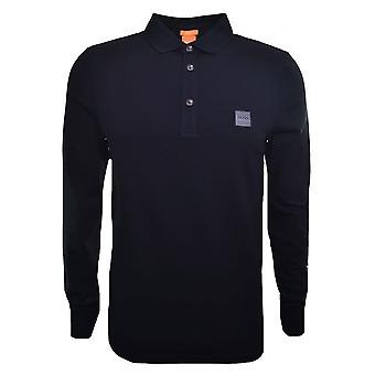 Hugo Boss Casual Slim Fit Black Passerby Long Sleeved Polo Shirt