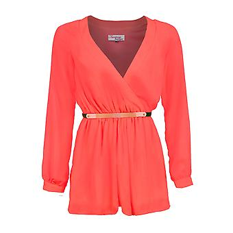 Ladies Long Sleeve Chiffon Wrap Front V Neck Belted Women's Playsuit Shorts