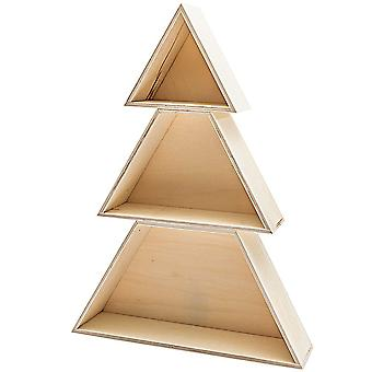 Wooden Boxes Fir Tree Set of 3 Shelves Christmas Display