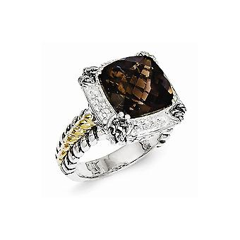 Sterling Silver Antique finish With 14k 6.80Smokey Quartz Ring - Ring Size: 6 to 8
