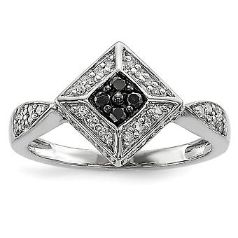 925 Sterling Silver Polished Prong set Gift Boxed Rhodium-plated Black and White Diamond Ring - Ring Size: 6 to 8