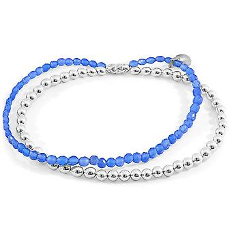 Anchor and Crew Harmony Agate Silver and Stone Bracelet - Silver/Blue
