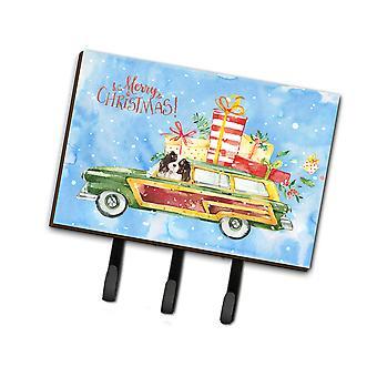 Merry Christmas Tricolor Cavalier Spaniel Leash or Key Holder