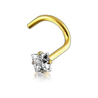 Stud nariz parafuso Piercing joias de corpo, 9ct amarelo ouro pedra quadrada branca