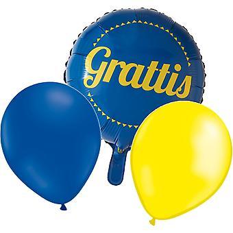 Folieballong Felicidades + 10 amarillas y 10 látex azul