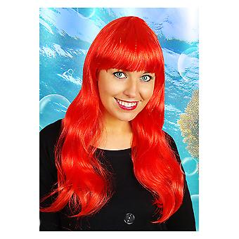 Pelucas larga peluca con el rojo de la franja