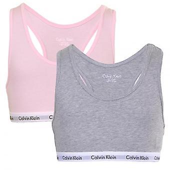 Calvin Klein meninas Pack 2 algodão moderno Bralette, rosa/cinza, XX-grande