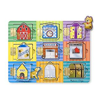Melissa & Doug Hide Seek Wooden Activity Board Wood Magnets