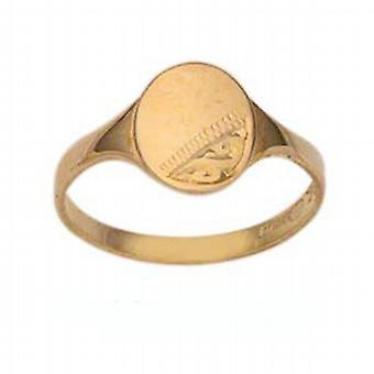 9ct Gold 7x6mm ladies engraved oval Signet Ring Size G