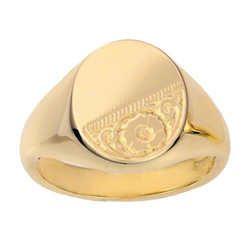 9ct Gold 16x14mm solid hand engraved oval Signet Ring Size W