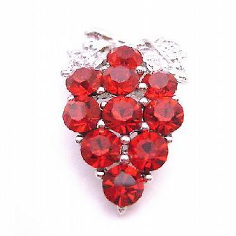 Sleek & Vintage Dress Brooch Siam Red Crystals Brooch