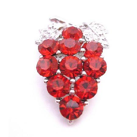 Sleek & Vintage Dress Brooch Siam Red Crystals Brooch