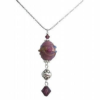 Tjejkompis gåva eleganta smycken ametist Oval dinglande halsband