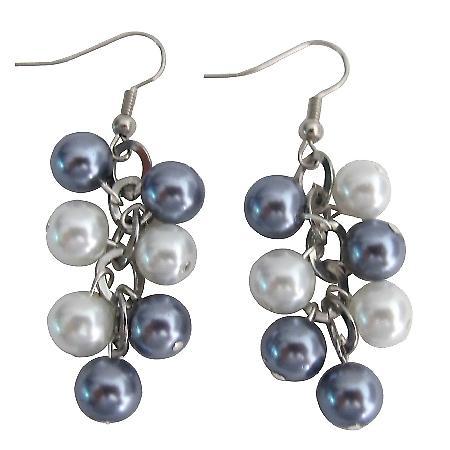 White Gray Pearl Jewelry Cluster Earrings Wedding Earrings
