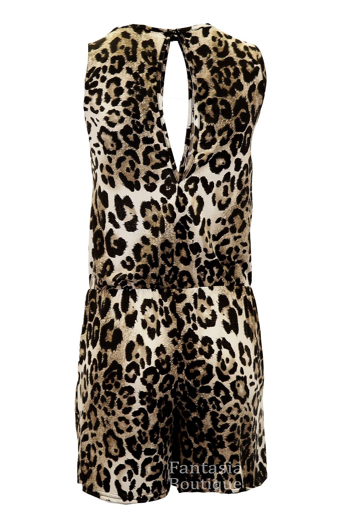 New Ladies Sleeveless Cut Out Back Leopard Print Elegant Women's Shorts Playsuit
