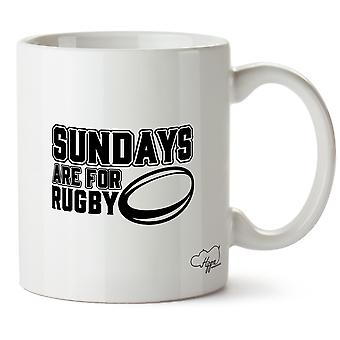 Hippowarehouse Sundays Are For Rugby Printed Mug Cup Ceramic 10oz