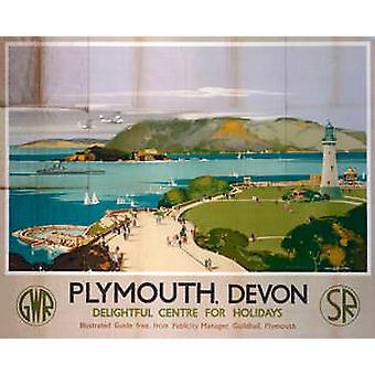 Plymouth (old rail ad.) mounted print