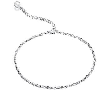 925 Sterling Silver Loop Chain Bead Charm Ankle Chain