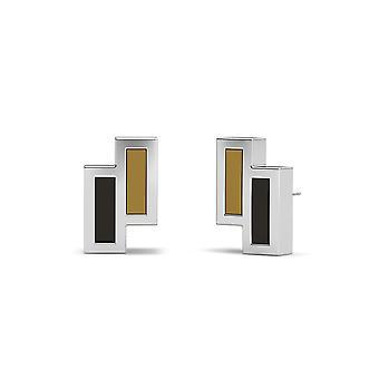 Wake Forest University - Asymmetric Enamel Stud Earrings In Light Brown And Black