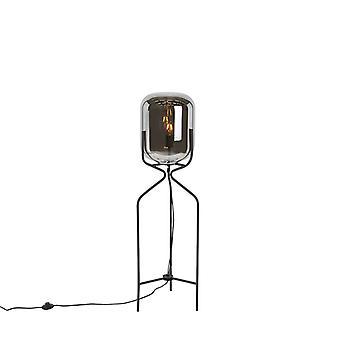 QAZQA lámpara de pie dicha lámpara de pie negra con la cortina de humo
