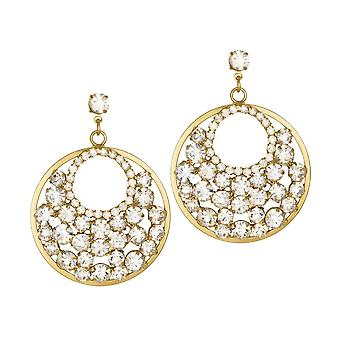 Eternal Collection Rendezvous Austrian Crystal Hoop Gold Tone Drop Pierced Earrings