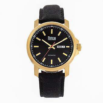 Reign Helios Automatic Leather-Band Watch w/Day/Date - Gold/Black