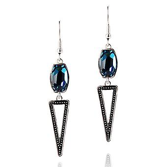 Platinum Plated Blue Austrian Crystals Triangle Drop Earrings, 10.2cm