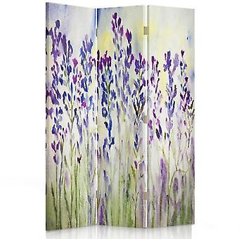 Przegroda pokoju, 3 panele, dwustronna, płótno, malowane kwiaty na białym tle