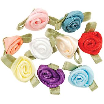 Ribbon Roses Small 40 Pkg Multi Colors 14019 C1