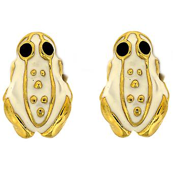 Kenneth Jay Lane White Enamel Frog Clip On Earrings