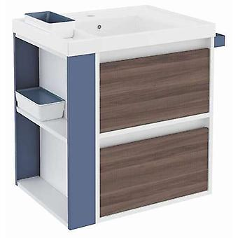 Bath+ Sink cabinet 2 Drawers With Resin Fresno-White-Blue 60CM