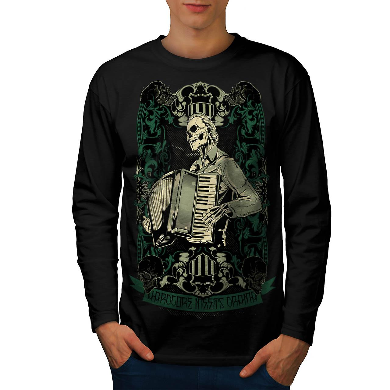 Hardcore Night Piano Accordion Men Black Long Sleeve T-shirt | Wellcoda
