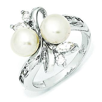 Sterling Silver CZ White Freshwater Cultured Pearl Leaves Ring - Ring Size: 6 to 8
