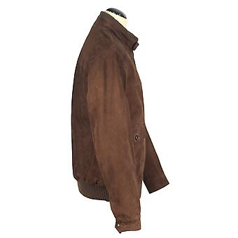 NACCO - elegant men's jacket suede leather jacket short jacket Brown pilot jacket