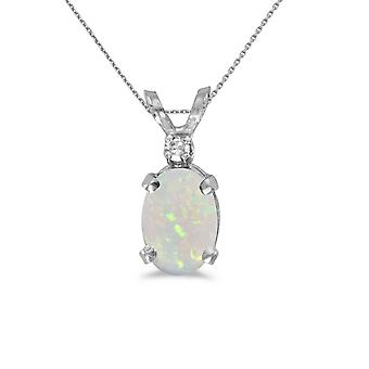 14k White Gold Oval Opal And Diamond Pendant with 18